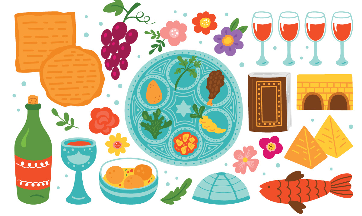 Illustrations of traditional Passover items