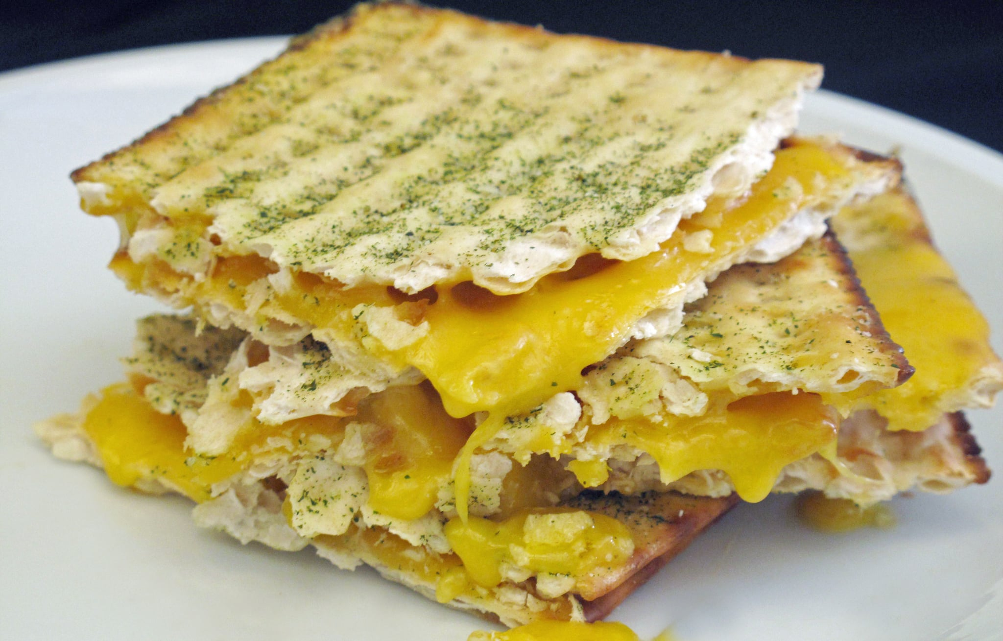 matzo grilled cheese on a plate