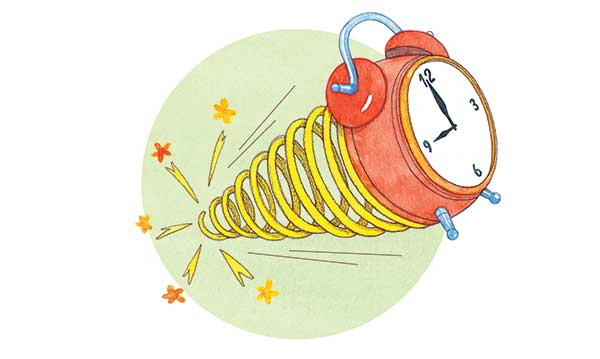 A clock springing away from a green circle