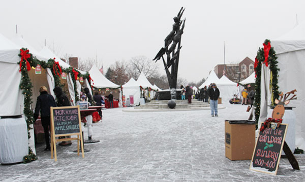 Vendor booths at birmingam winter markt
