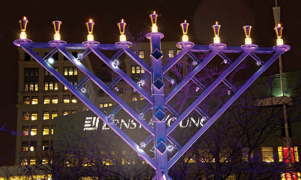 Giant lit menorah
