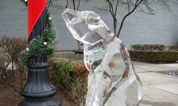 an ice sculpture at the holiday ice festival in Ferndale
