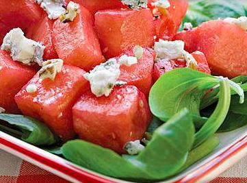 watermelon mache fruit salad on a plate