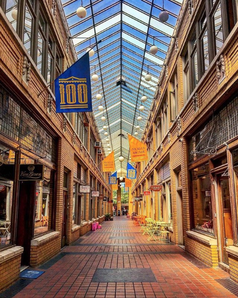 A shopping area in Ann Arbor