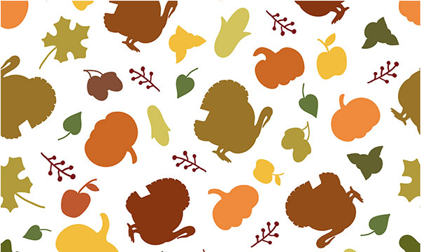 Turkeys, pumpkins and other thanksgiving items on a white background