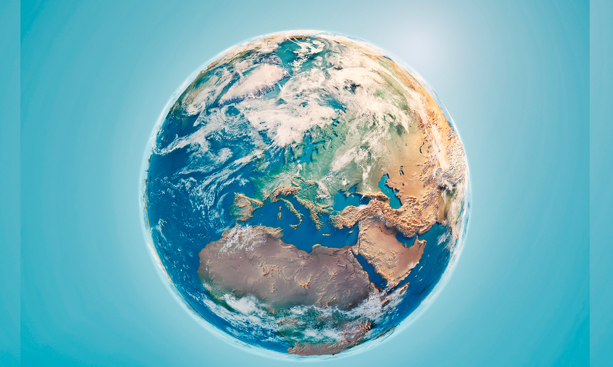Planet earth on a teal background