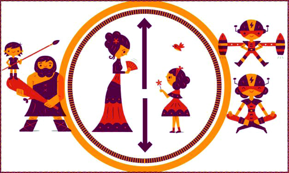 Red, purple and orange illustration of parents throughout the ages