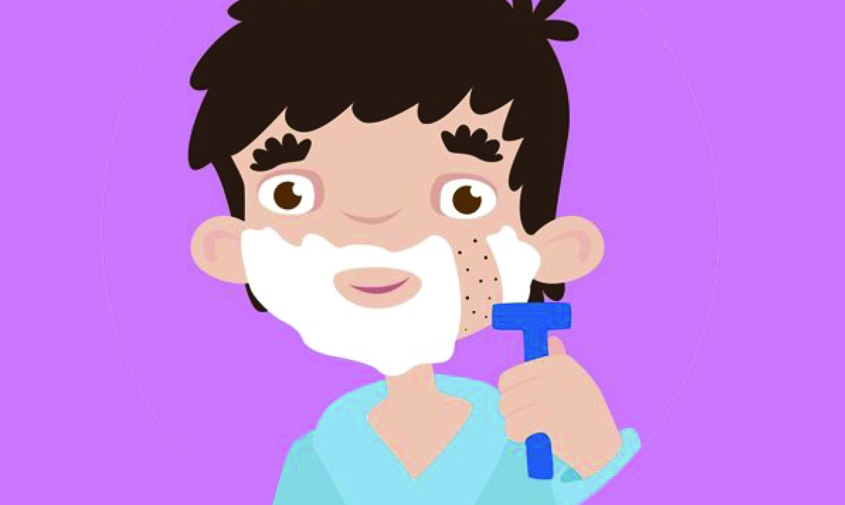 Illustration of a boy with shaving cream on his face and a razor in his hand