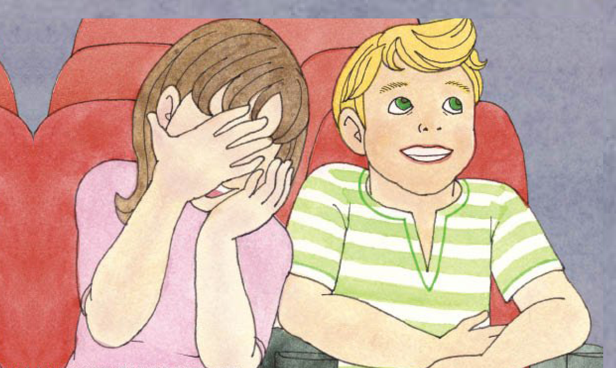 Illustration of happy boy with scared girl