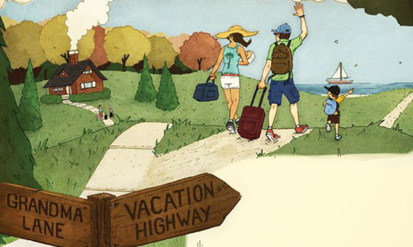 Illustration of a family walking away from a traditions sign