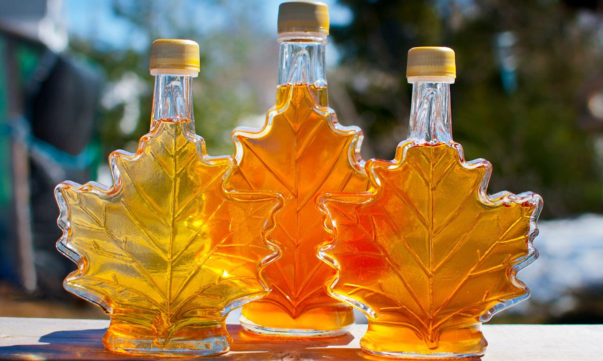 Three glass maple leaf-shaped jars of maple syrup