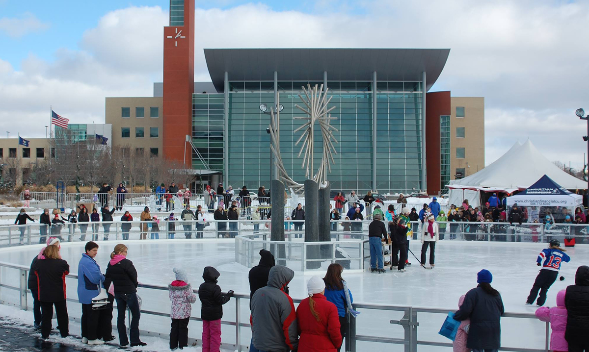 People ice skating at Warren City Square