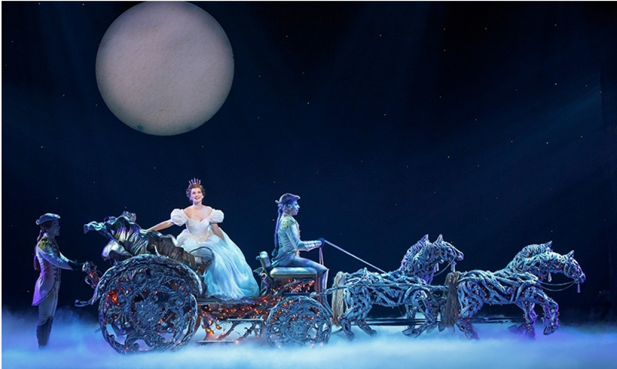 Cinderella riding in a horse-drawn carriage