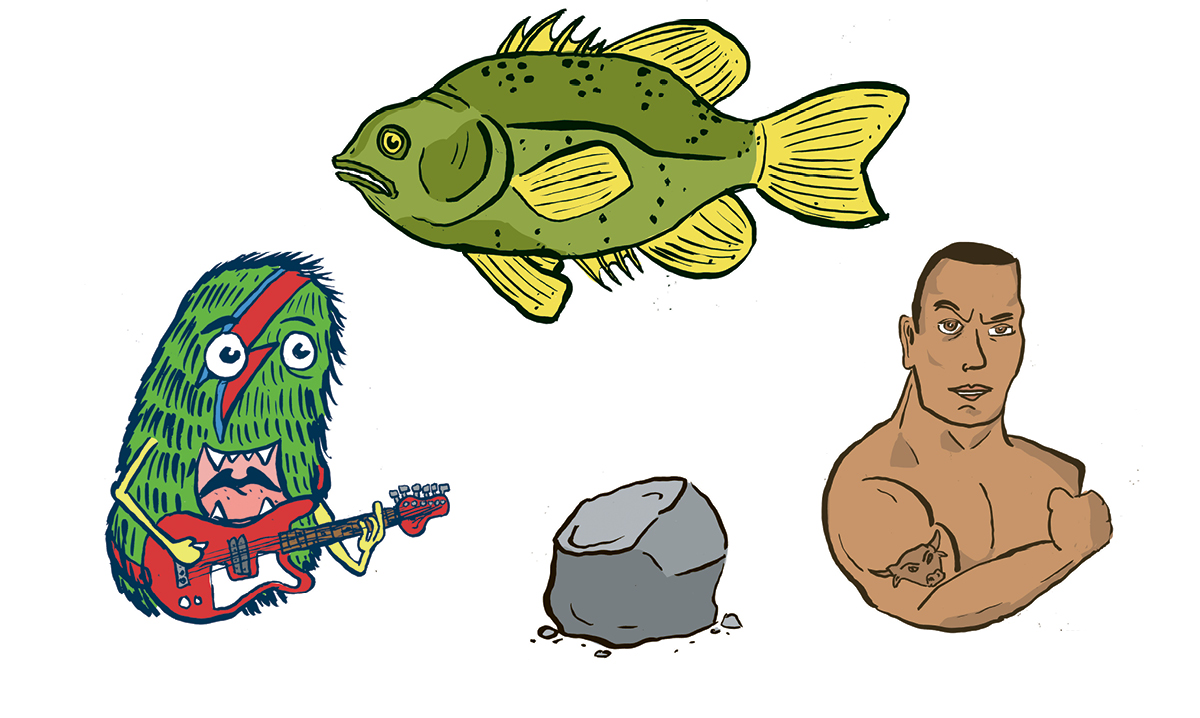 Drawing of a monster, fish, rock and The Rock