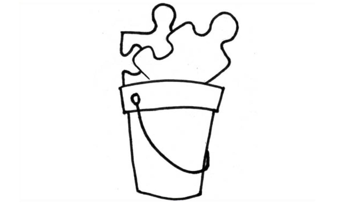 Illustration of puzzle pieces in a bucket