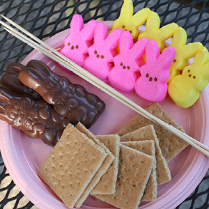 A plate of chocolate bunnies, Peeps bunnies and graham crackers