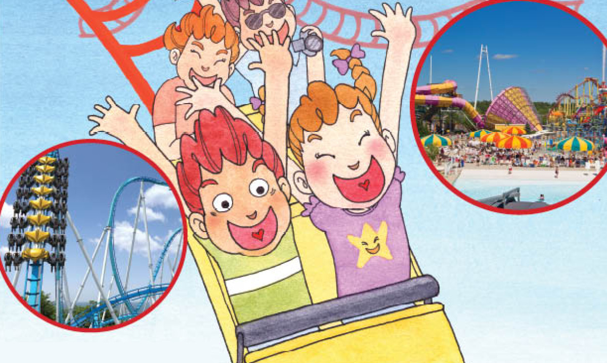 Drawing of two kids on a roller coaster. Real park images in circles