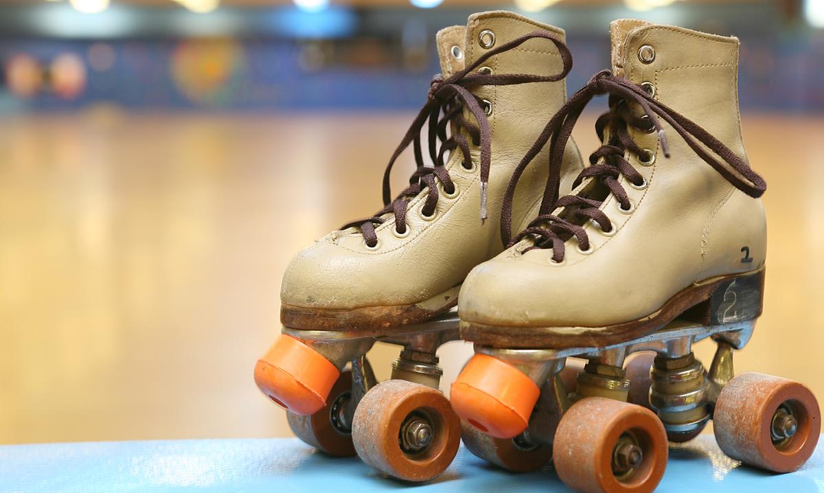 A pair of rental skates at a roller rink