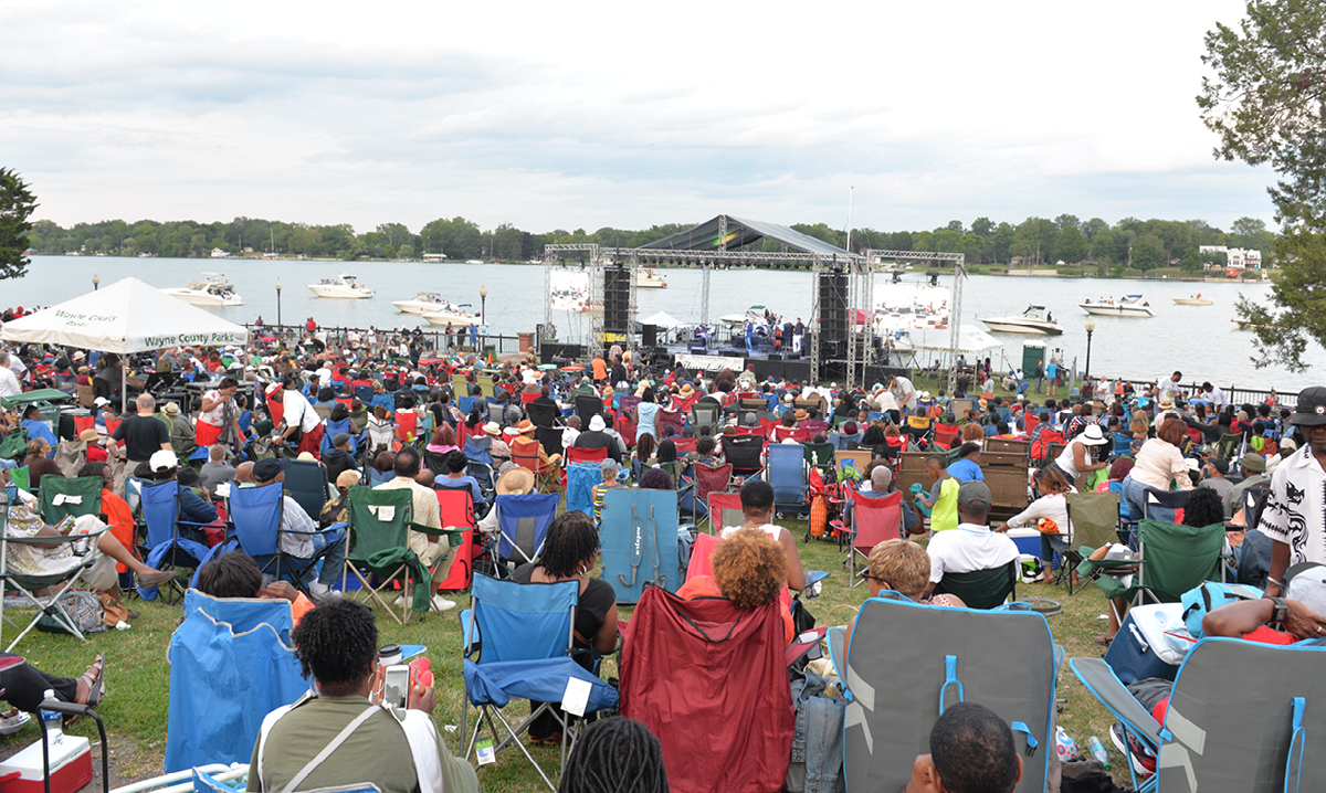 Group of people at jazz on the river in Trenton