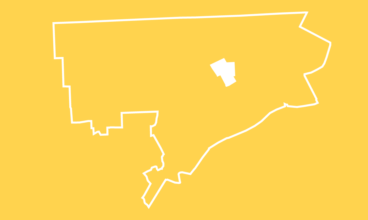 A white outline of Hamtramck on a yellow background