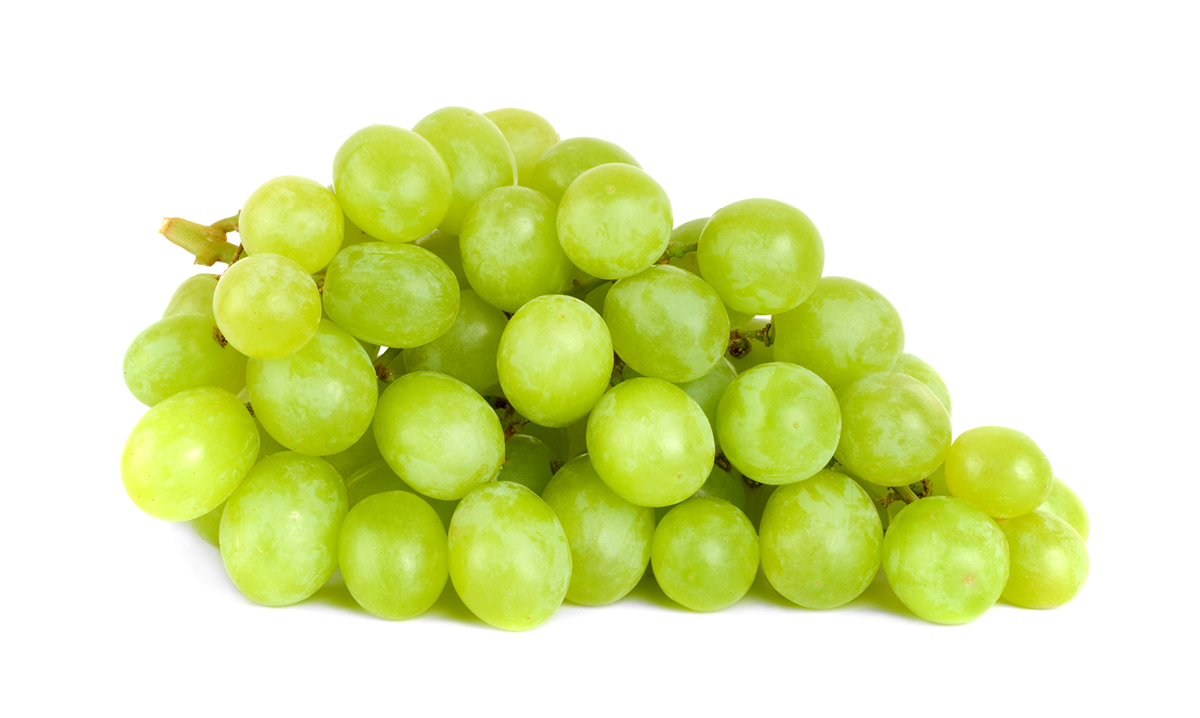 Bundle of green grapes on a white background