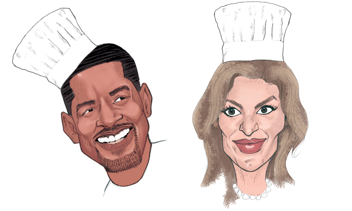Will Smith and Gisele Bundchen in chef hats