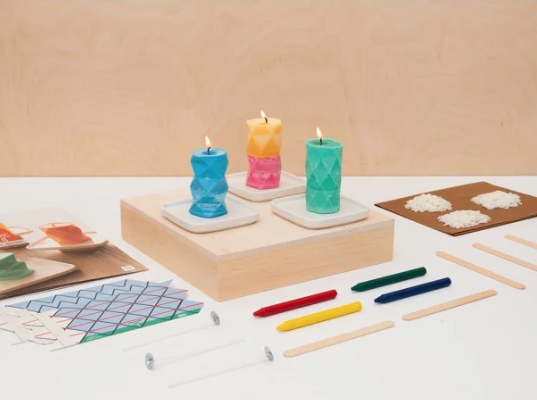 Geometry candles subscription box by Kiwico
