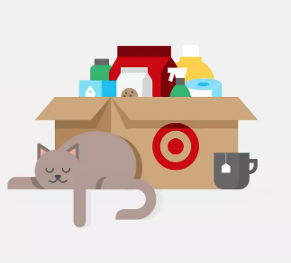 Cartoon image of a target subscription box