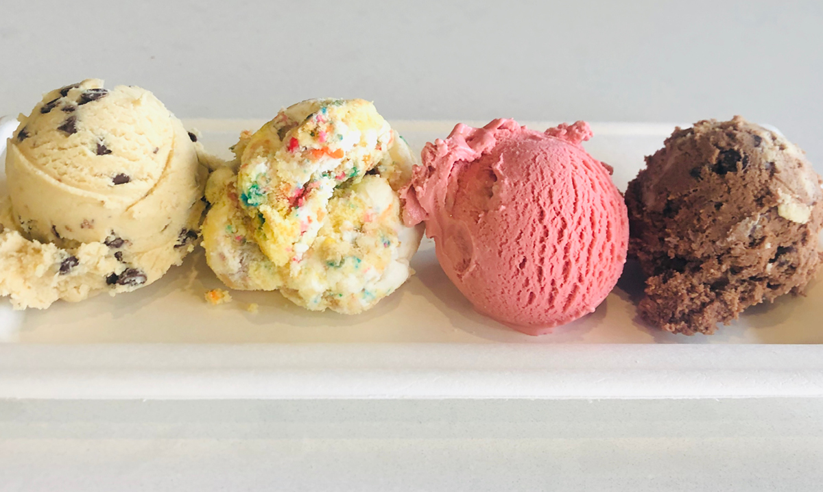 Four scoops of ice cream on a plate