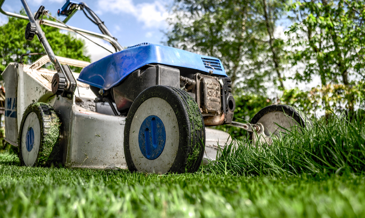 Close up of a lawnmower