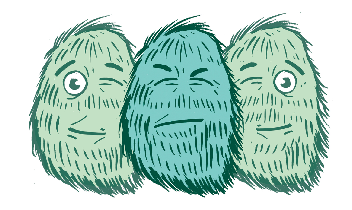 A drawing of three monsters in various winking stages