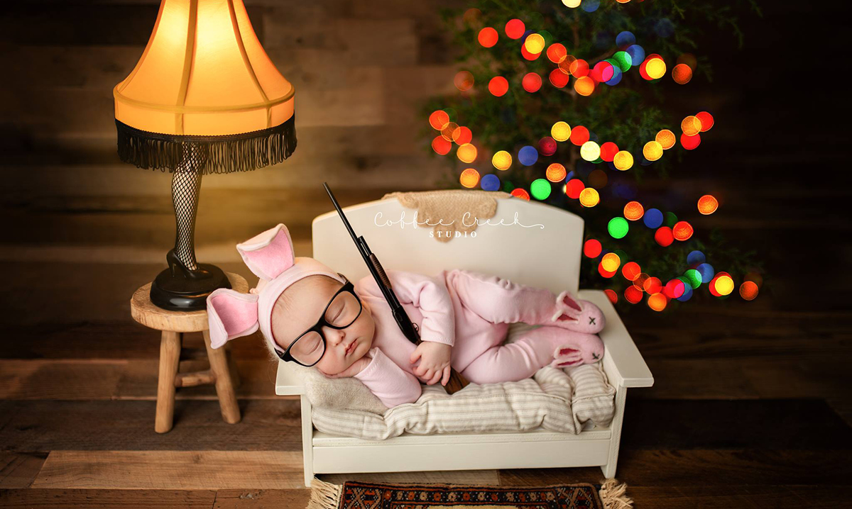 A Christmas Story themed baby photo shoot
