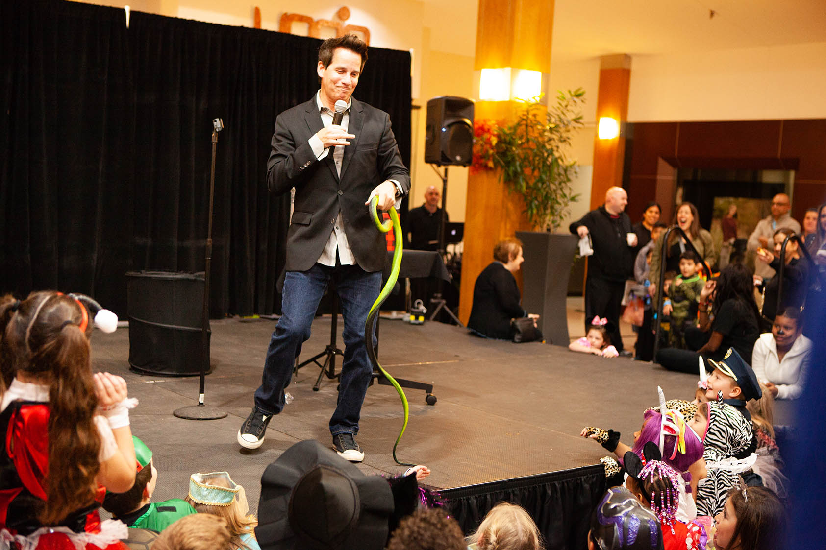 Magician Jasen entertains Monster Mash attendees at Orchard Mall on Oct. 26, 2018.