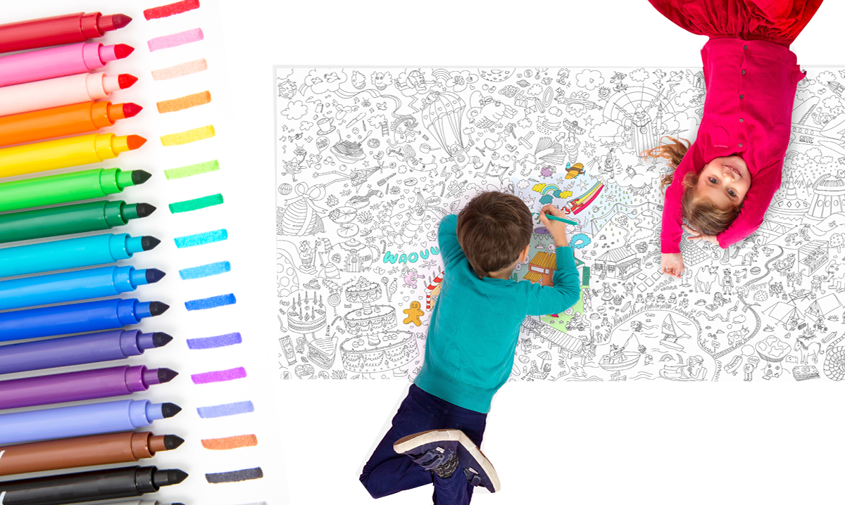 Win a Giant Coloring Sheet and Washable Felt Pens by OMY