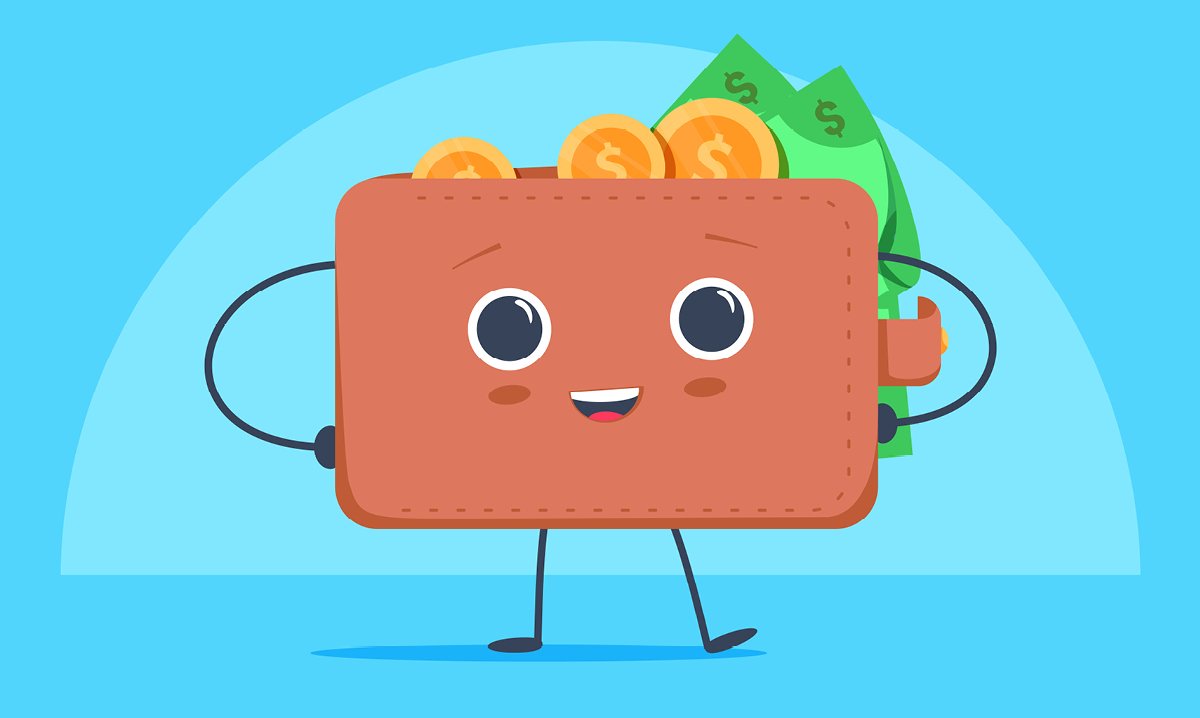 Illustration of a happy wallet full of money