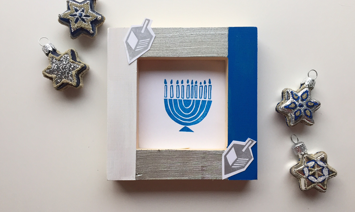 Hanukkah picture frame craft for families