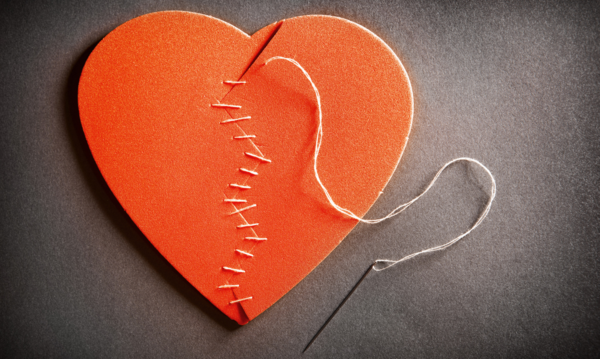 A broken heart sewed together