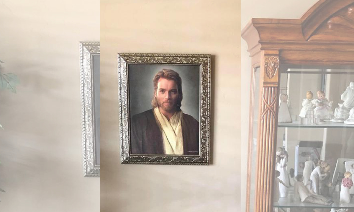 man gives mom obi-wan portrait for christmas