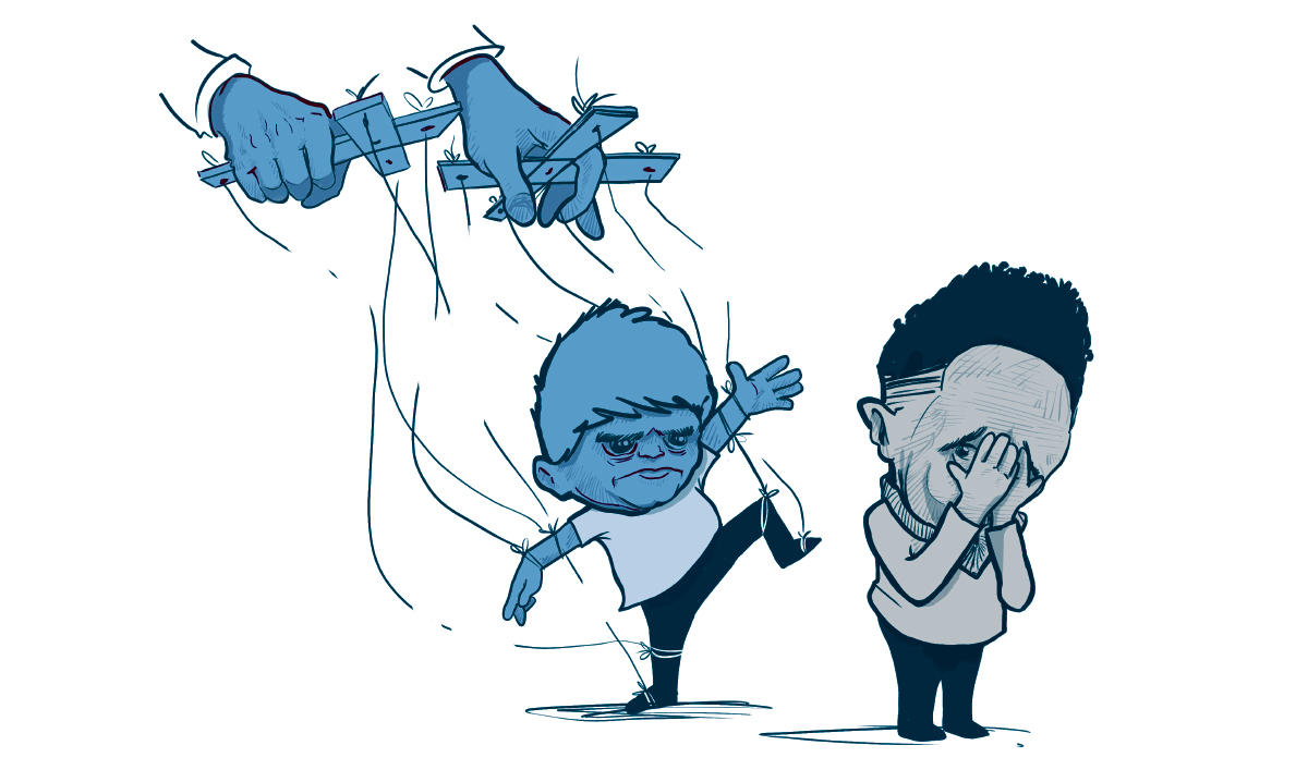 Illustration of child puppet stomping toward crying child