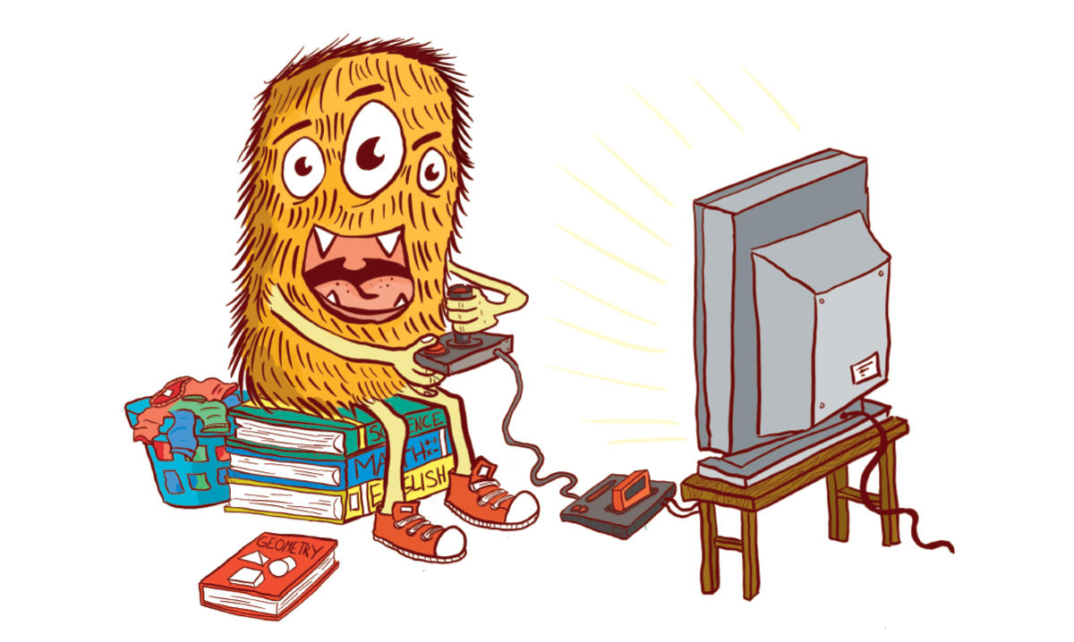 Illustration of a monster playing a video game