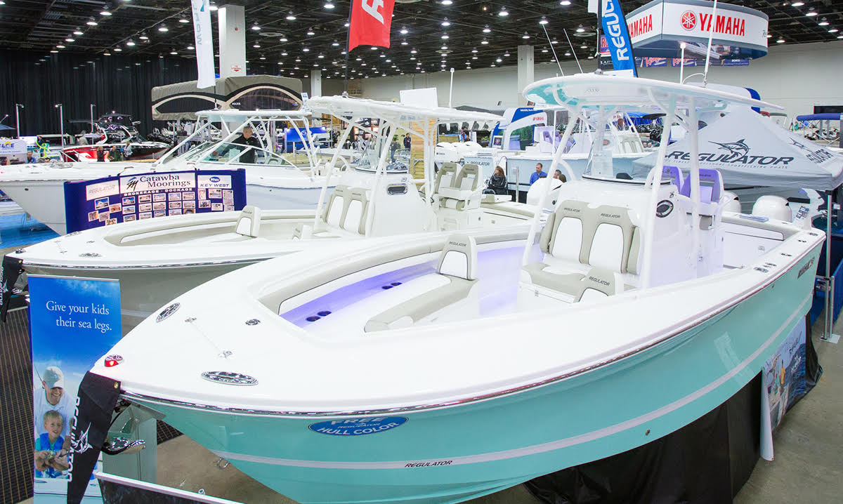 Boat on display at the Detroit boat show