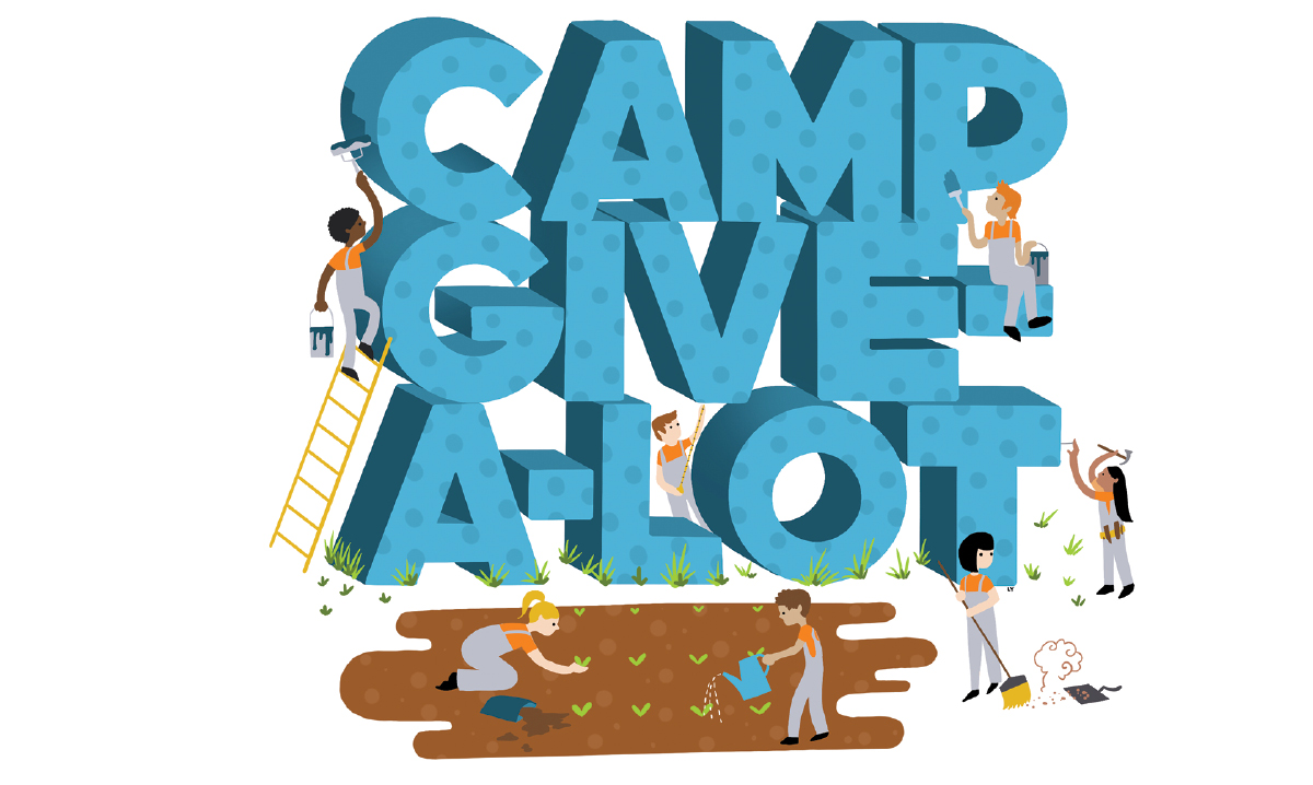"Illustration of ""Camp Give-A-Lot"" surrounded by kids helping"