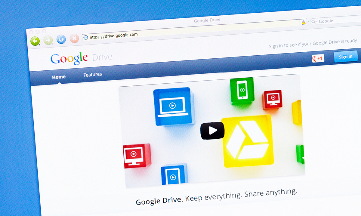 A homepage image of Google Drive, which includes Google Docs