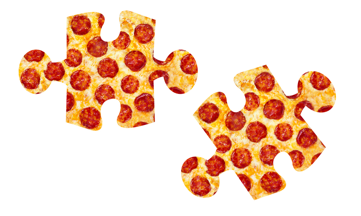 Two puzzle pieces that look like pizza