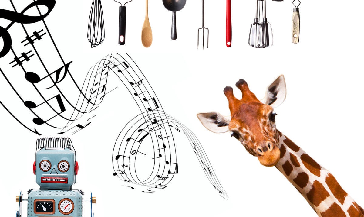 Music notes, a giraffe, cooking utensils and a robot on a white background