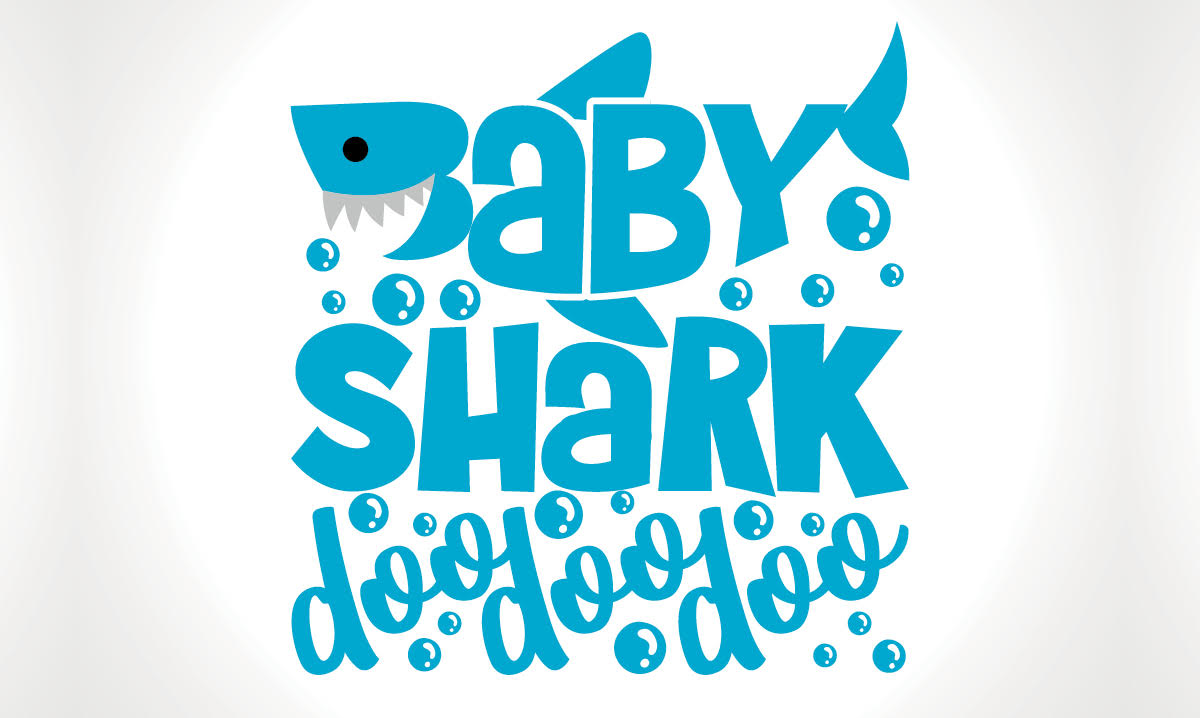 A cartoon image of a shark surrounded by bubbles and 'baby shark' lyrics