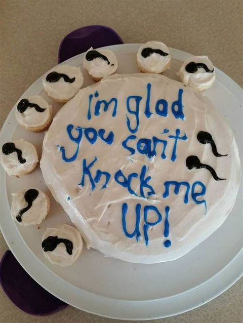 White cake decorated with sperm