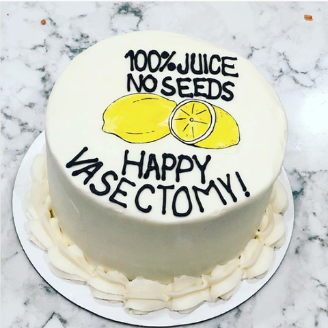 White vasectomy cake with lemons