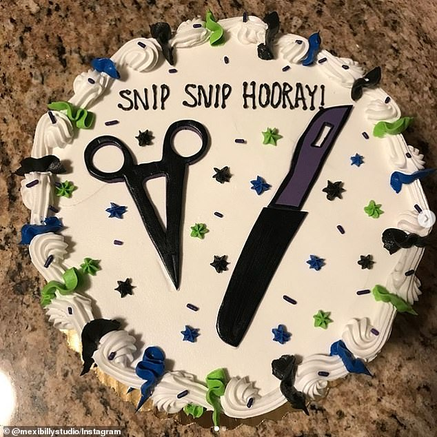 White, blue and green vasectomy cake that says snip snip hooray