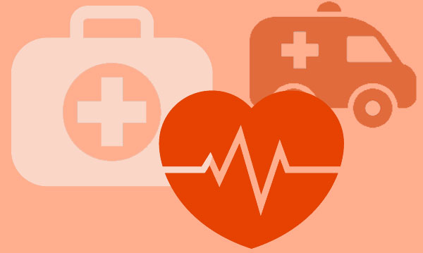 Illustrations of an ambulance, first aid kit and heart on a pink background
